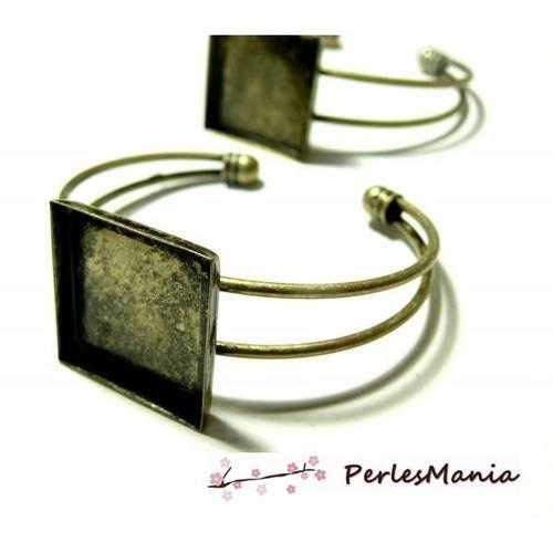 1 support de bracelet carre 16mm bronze pour collage digitale