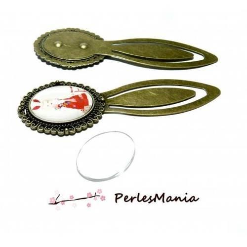 2 pièces: 1 support marque page arty 18 par 25 mm bronze h3332 et 1 cabochon