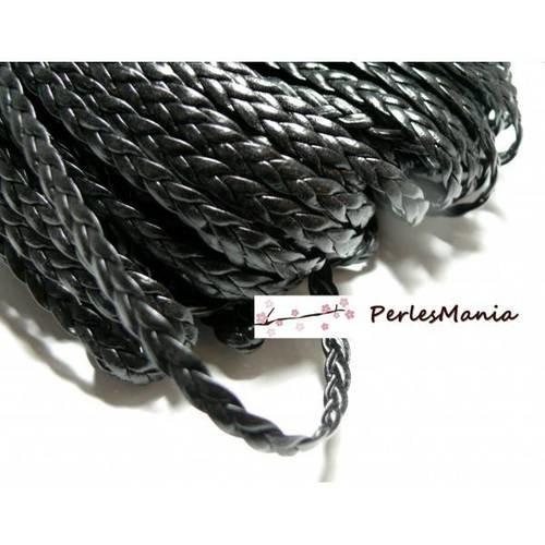 Cordon cuir 5x2mm couleur noir x 1m
