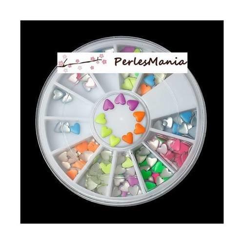 1 boite de 6cm nail art coeur fluo multicolores 1169691, diy