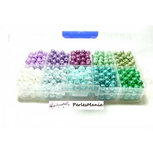 Les essentiels: boite de 600 perles verre nacre 6mm h111b2