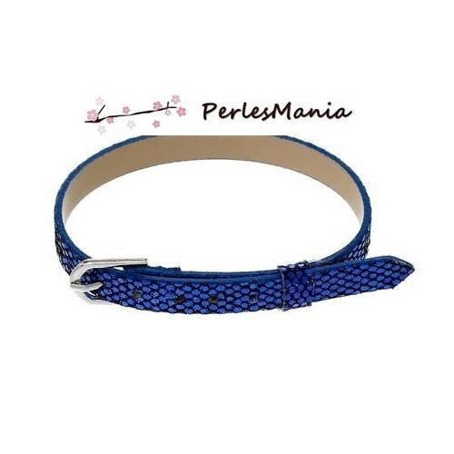 4 Bijoux Bracelet PU Bleu foncé Fermoir Mousquetion Pour Bouton Pression 60cm