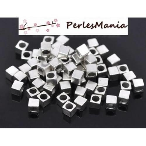 Pax 200 perles intercalaire petits cube 4mm trou 2.7mm s113791 vieil argent, diy