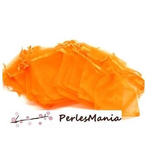 10 grandes pochettes organza orange ( environ 20 par 30cm ) h415