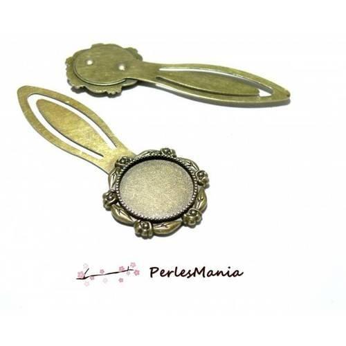 1 support marque page arty fleur 20mm bronze h3309 pour cabochon, diy