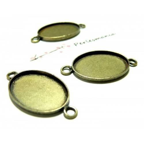 10 support de connecteur bronze qualité ovale 13 par 18mm ref 1126704