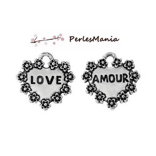 Pax 20 pendentifs coeur love argent vieilli ( s1159529), diy