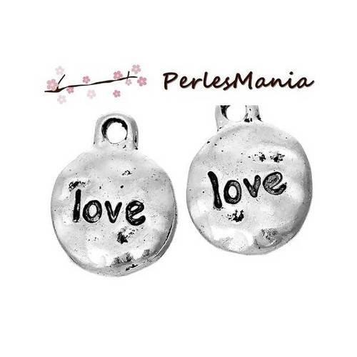 Pax 20 pendentifs coeur love martele argent vieilli ( s1159926), diy