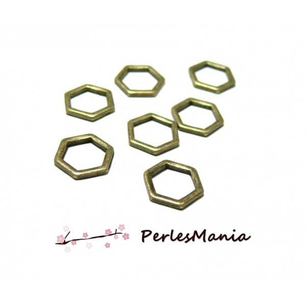 PAX 30 pendentifs anneau connecteur fermé HEXAGONALE 11 par 10mm BRONZE S1185802