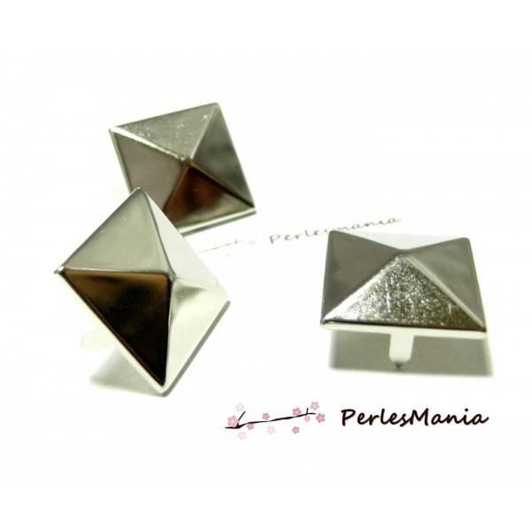 PAX 200 CLOUS RIVETS 9mm pyramide carré à 4 griffes metal ARGENT PLATINE S1122557