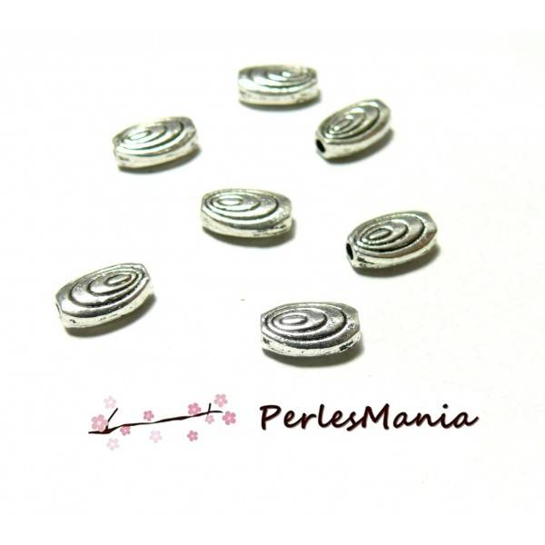 10 perles intercalaire forme OVALE SPIRALE metal ARGENT ANTIQUE ( 2B360 )4