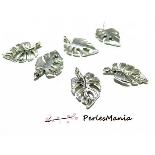 Pax 40 breloque pendentifs feuille de philodendron argent antique ref 99