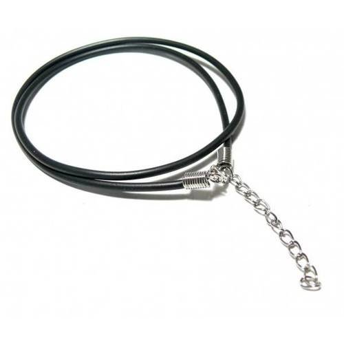 Pax 10 colliers silicone noir avec chaine de confort diamètre 2.5mm ref 11120518113225
