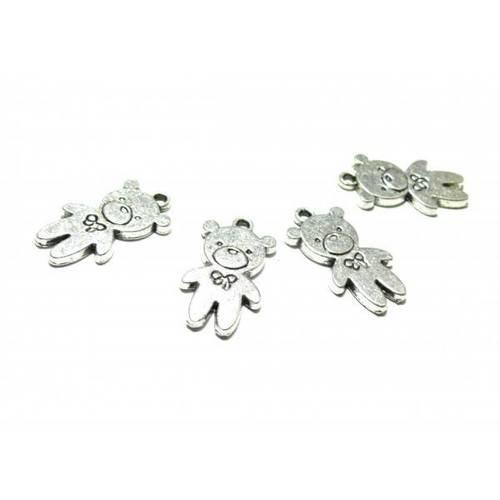 Pax 10 pendentifs ourson metal couleur argent antique ref 130909200412