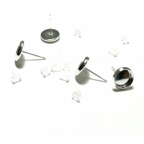 Pax 20 supports de boucle d'oreille puce qualité 8mm avec embouts plastique metal argent vif ps1120988