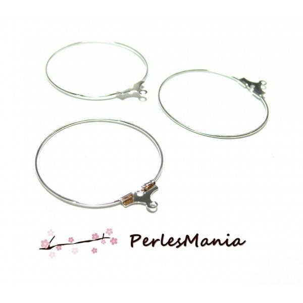 PAX 50 Boucles d'oreilles CREOLES Cintres 35mm ARGENT PLATINE ref 090813103627PP