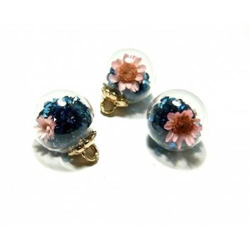 Pax 5 pendentifs globes bulles en verre fleur et rhinestone socle dore s1198721