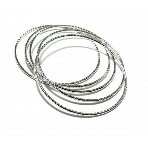 Pax 5 supports bracelet anneau strie couleur argent 22cm s1190489