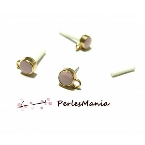 Pax 10 boucle d'oreille puces style emaille rose pale avec attache doré s11103808