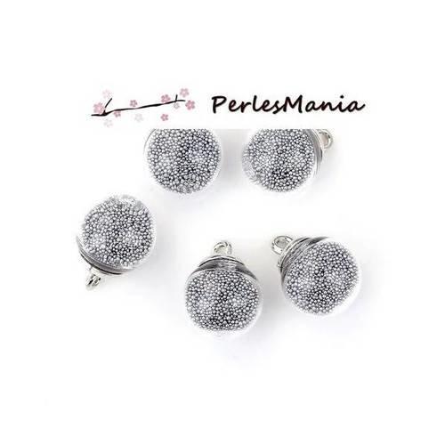 Pax 10 pendentifs globes bulles en verre caviar gris socle argent s11102936