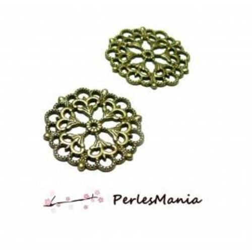 H11623 pax 10 pendentifs multiconnecteurs fleur dentelle metal couleur bronze