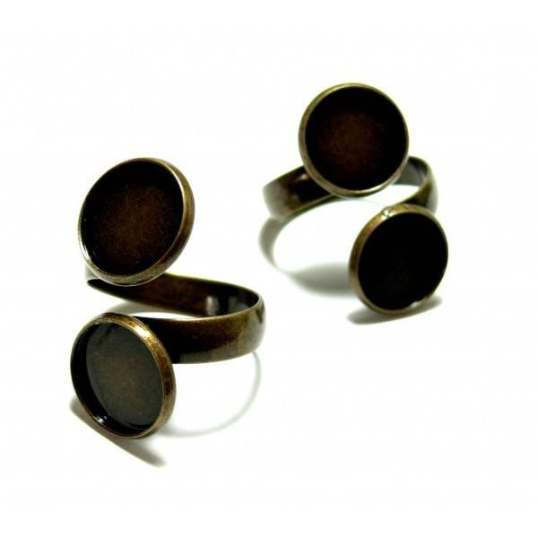 BN1126996B PAX 2 supports bague 12mm Double Cabochons metal couleur Bronze