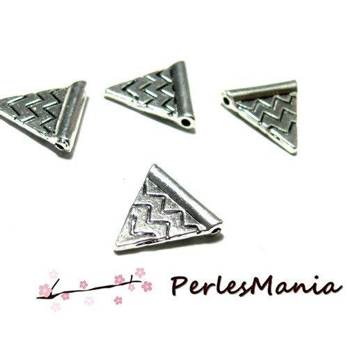 2d6878 pax: 10 passants perles intercalaires triangle chevron metal couleur argent antique