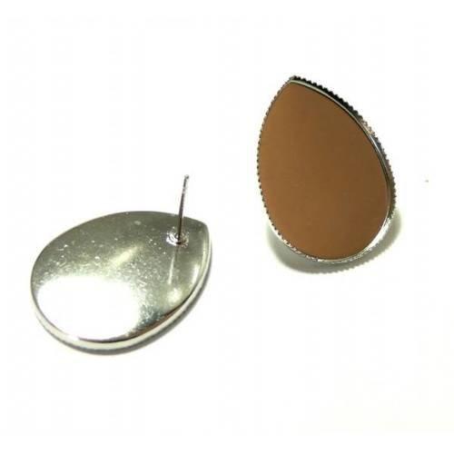 Bn1134104pp pax 20 supports de boucle d'oreille puce plateau goutte 13 par 18mm argent platine qualité laiton