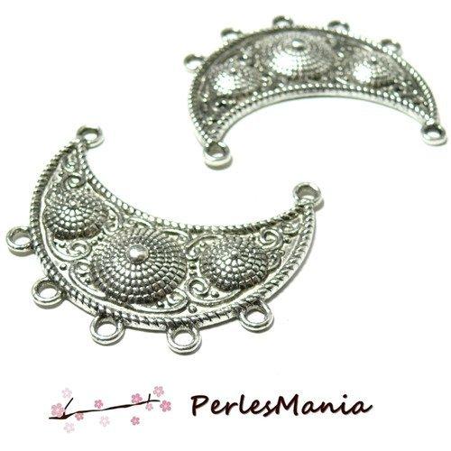 Ps11010329 pax 5 pendentifs multiconnecteurs chandeliers ethnique punjab 47mm couleur argent antique