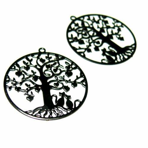 Ae117380 lot de 4 estampes pendentif  filigrane arbre à chat noir 27mm
