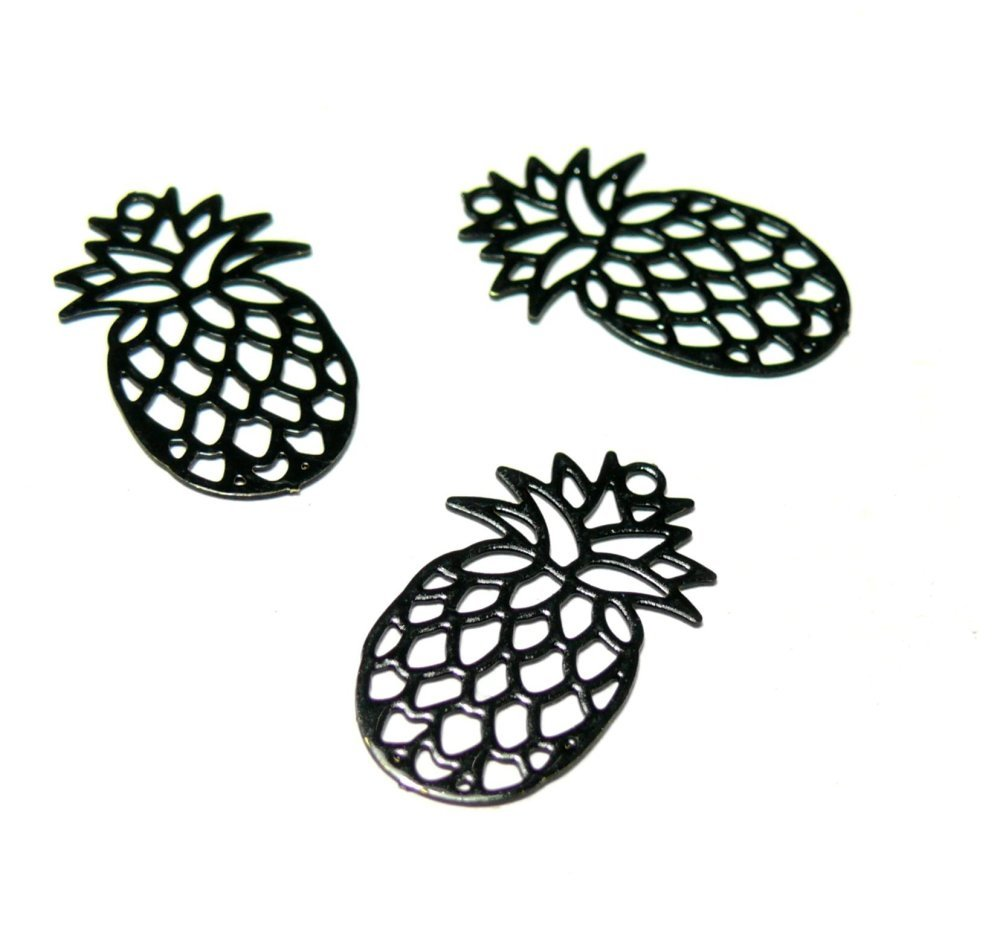 AE117885 Lot 4 Estampes pendentif Ananas Noir de 20mm