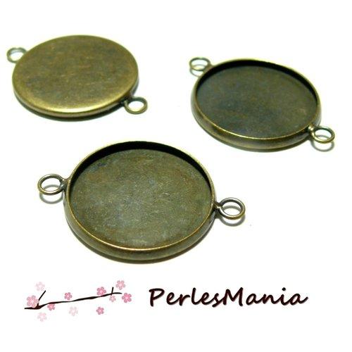 Bn118951 pax 10 supports de connecteur rond 20mm qualité laiton metal couleur bronze