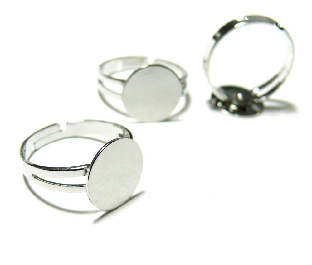 BN11949 PAX 10 supports de bague plateau lisse anneau double 12mm metal Argent Platine Qualité Laiton