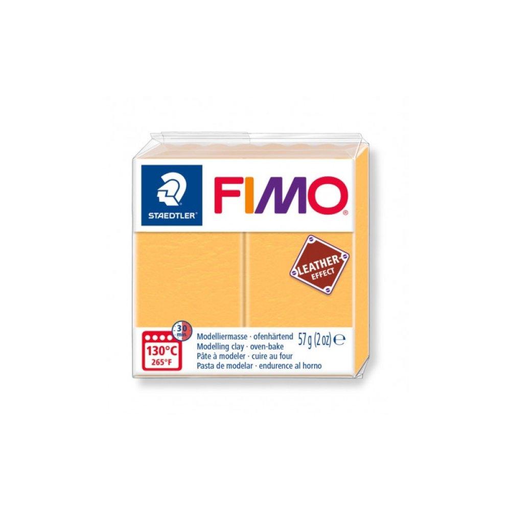 1 pain 56g pate polymère FIMO Effet CUIR Jaune Saffran 8010-109