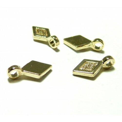 Ps110120652 pax 20 belieres à coller forme losange 16mm metal, attache pendentif couleur doré