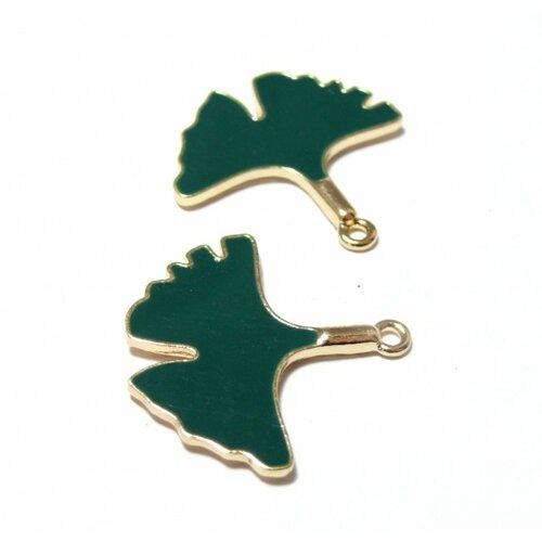 S11129126 pax 5 feuilles de gingko 30mm résine emaillées couleur vert métal doré