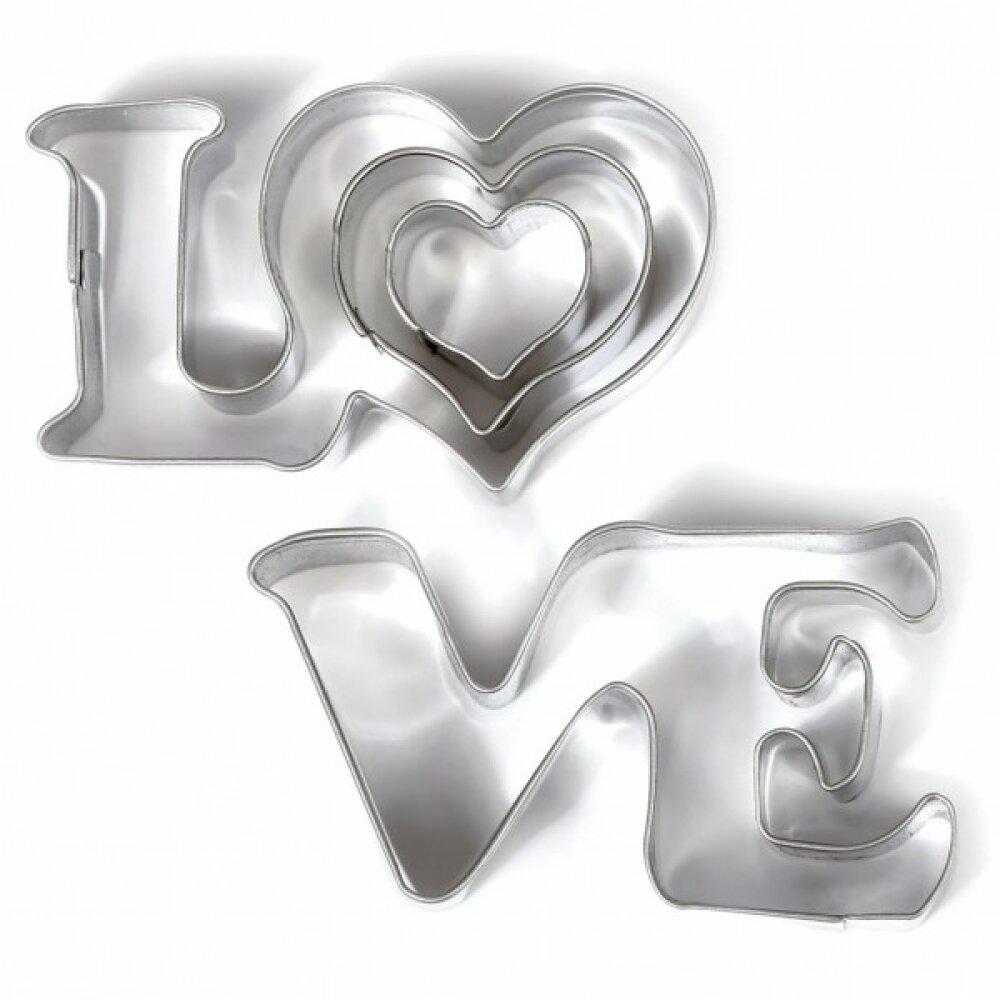 Lot de 3 Mini Emporte-pièces métal Love Graine Creative 265064 ( 1 love et 2 coeurs )