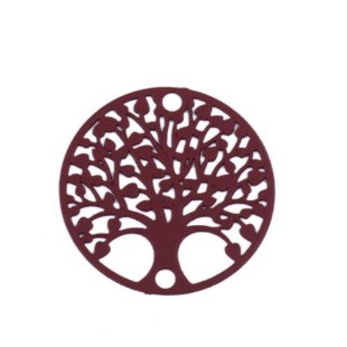 S110204879 pax 10 estampes pendentif connecteur filigrane medaillon arbre à coeur rouge bordeaux de 20mm