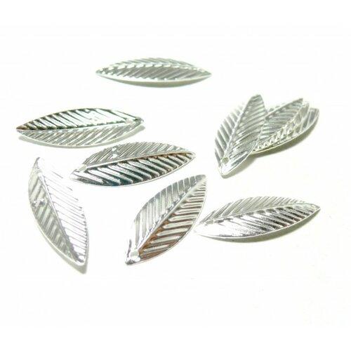 Ps1123257 pax 100 pendentifs breloques feuilles couleur argent vif