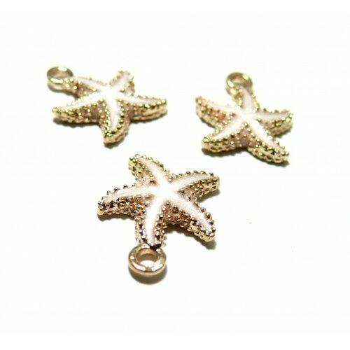 171011174229 pax 10 pendentifs, breloques etoile de mer or rose pâle 18x15mm
