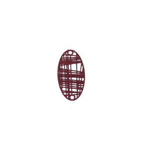 S110204888 pax 10 estampes pendentif connecteur filigrane ovale futuriste rouge bordeaux de 24mm