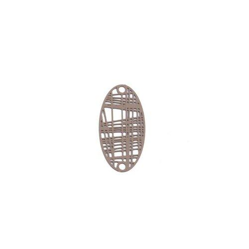 S110204889 pax 10 estampes pendentif connecteur filigrane ovale futuriste beige taupe de 24mm