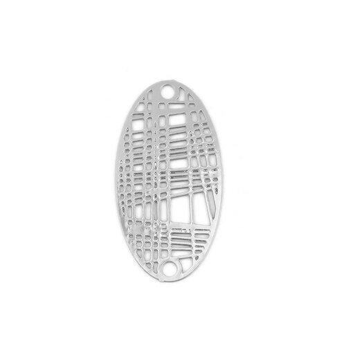 S110204893 pax 10 estampes pendentif connecteur filigrane ovale futuriste argent platine de 24mm