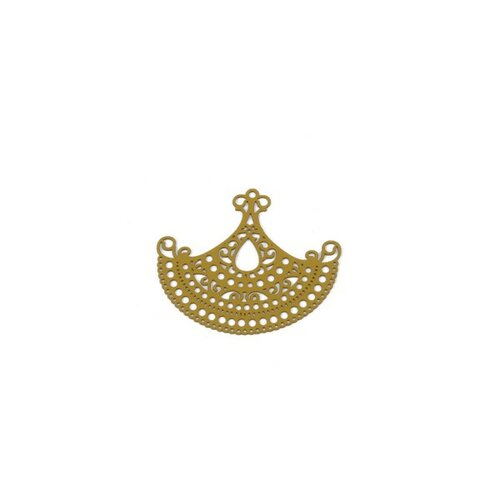 Ps110204898 pax 5 estampes pendentif connecteur chandelier filigrane jaune moutarde 42mm