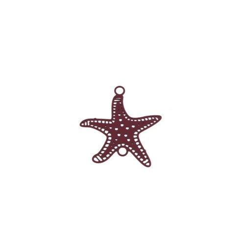 Ps110204872 pax 10 estampes pendentif connecteur etoile de mer rouge bordeaux 21mm