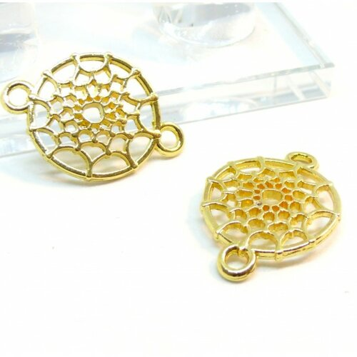 Ps110117611 pax 15 connecteurs pendentifs toile d'araignée, halloween,dream catcher métal couleur doré