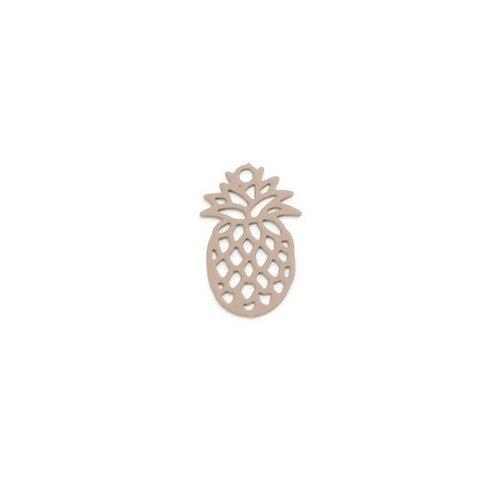Ps110206596 pax 20 estampes pendentif petit ananas beige taupe 15mm