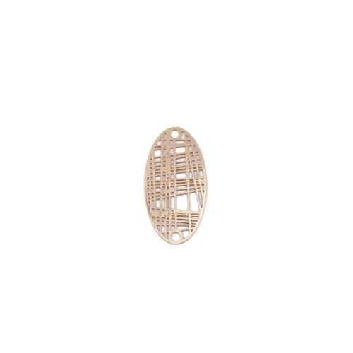 S110204892 pax 10 estampes pendentif connecteur filigrane ovale futuriste doré de 24mm