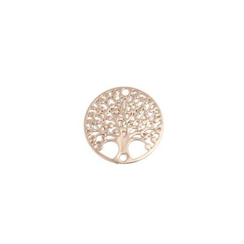 S110204880 pax 10 estampes pendentif connecteur filigrane medaillon arbre à coeur doré de 20mm