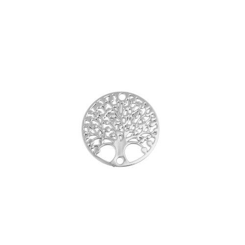 S110204881 pax 10 estampes pendentif connecteur filigrane medaillon arbre à coeur argent platine de 20mm